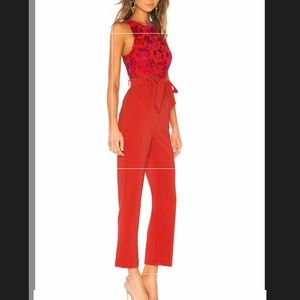 NWT Gardanome jumpsuit in magenta and red